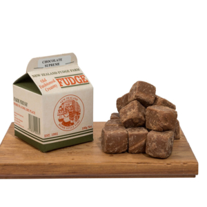 home-made chocolate supreme fudge in a carton